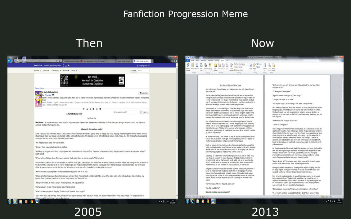 Fanfiction Progression Meme by xFlowerstarx