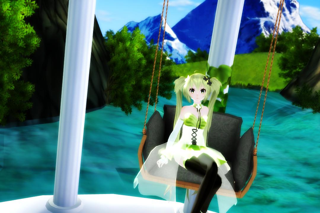 [[MMD]] Miku on a swing by LostMisty