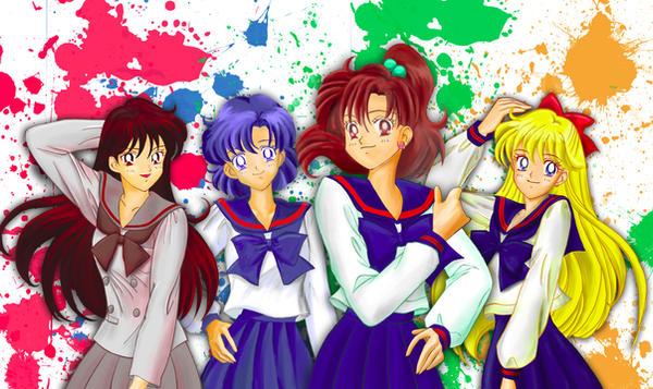 Four Sailor Senshi by feureau