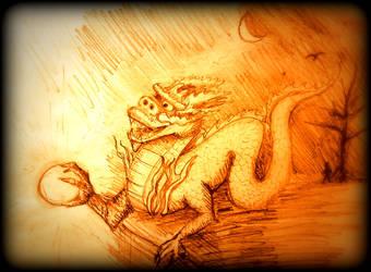 Dragon Grasping the Tai Chi Ball by ElthosRPG
