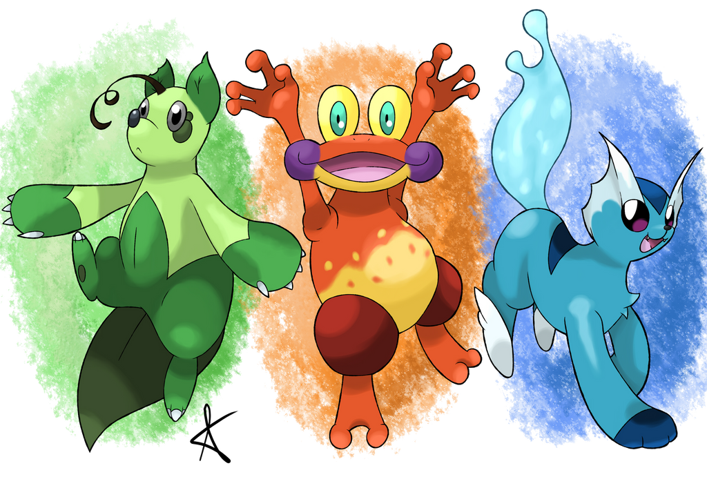 Fakemon - Starter Trio by MexieChan on DeviantArt