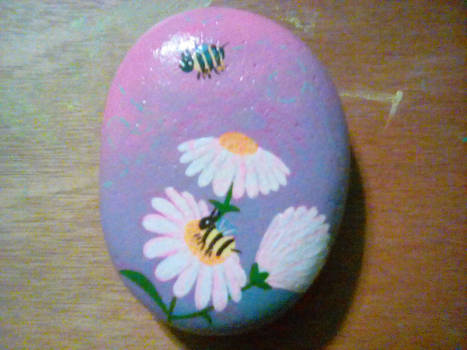 Bees and Daisies -- painted rock