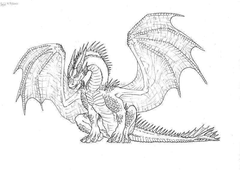 Sitting dragon Linework by BraveBabysitter