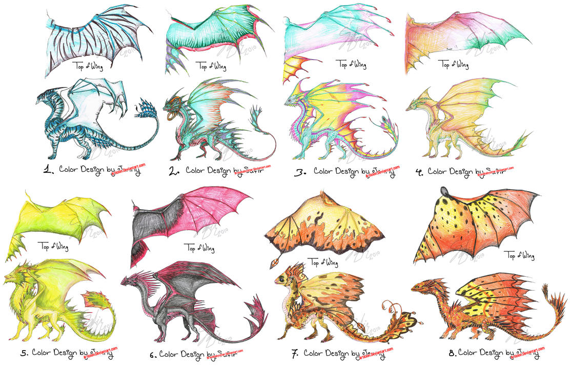 Dragon Drawings in Color Dragon Color Designs 1 8 by