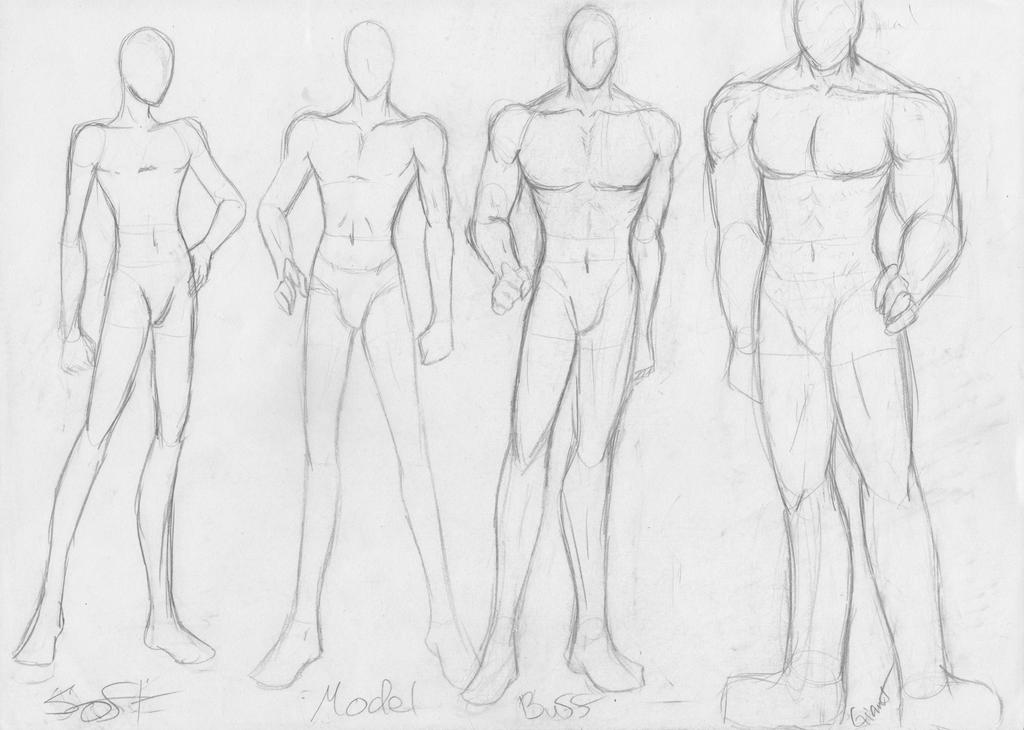 sketches of naked male body