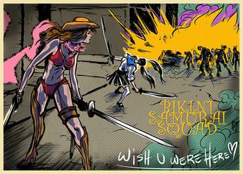Onechanbara: Bikini Samurai Squad postcard by ADE-doodles