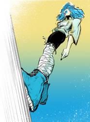 Blue Lady On Wall