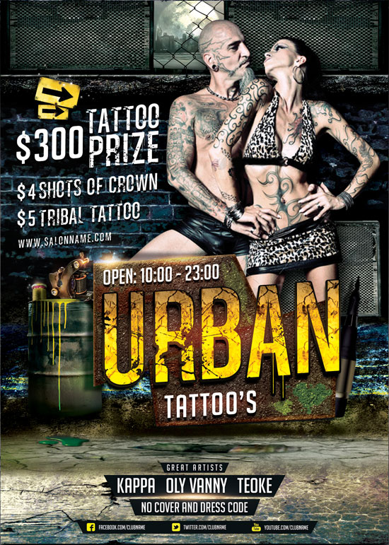 urban tattoo flyer template by brielldesign on deviantart. Black Bedroom Furniture Sets. Home Design Ideas
