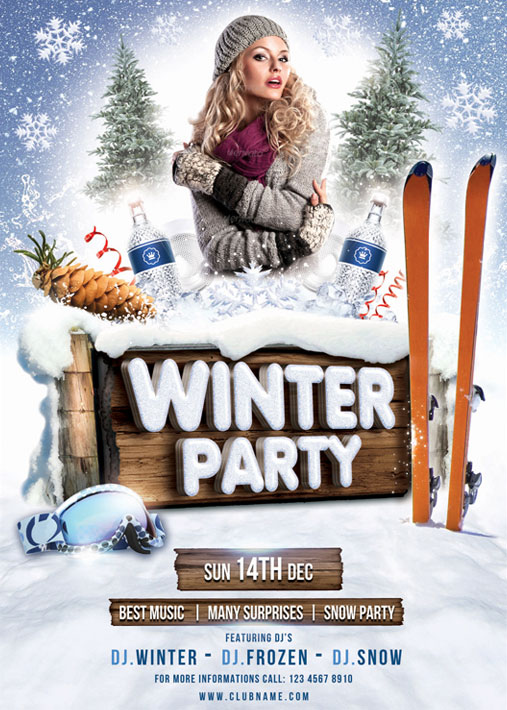 Winter Party Flyer Template By Brielldesign On Deviantart