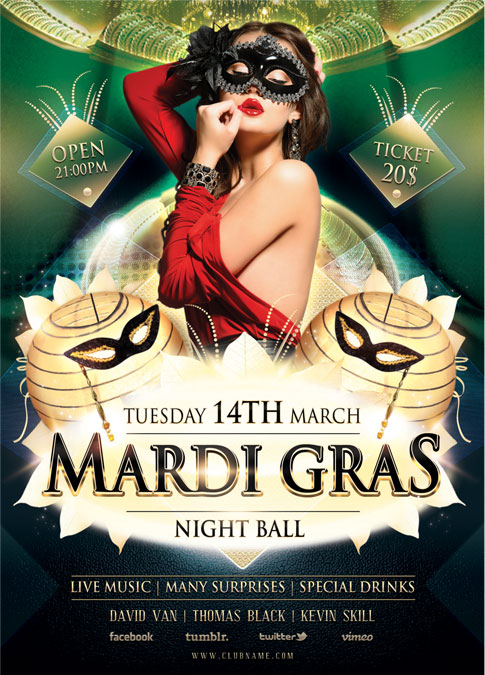 Mardi Gras Flyer Template By Brielldesign On Deviantart
