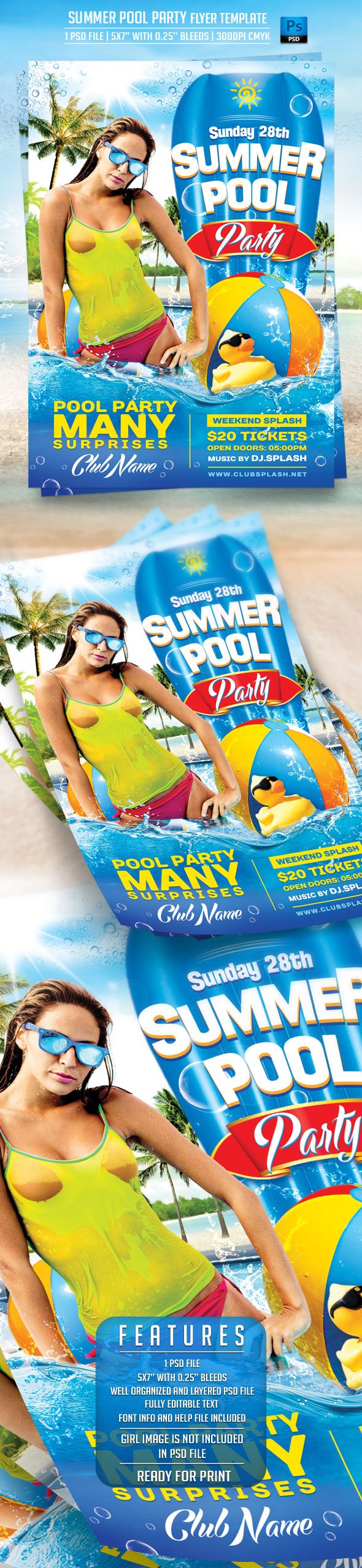 ... Summer Pool Party Flyer Template By BriellDesign