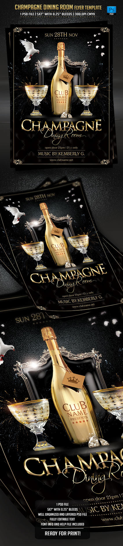 Champagne Dining Room Flyer Template by BriellDesign