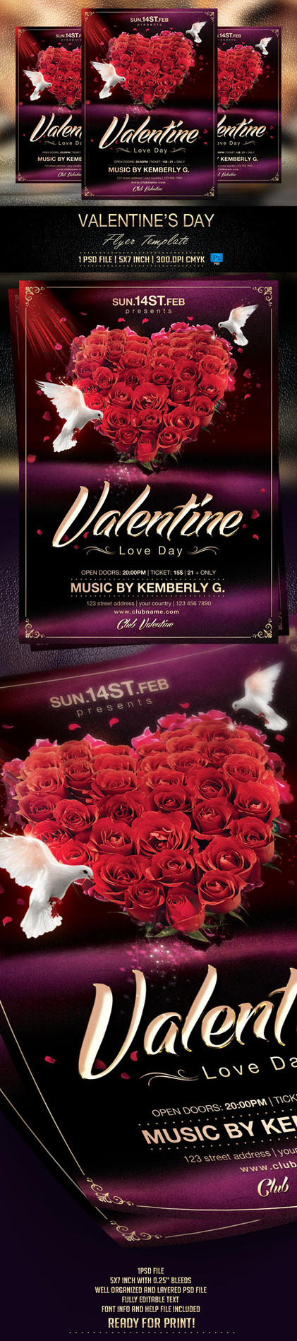 Valentine's Day Flyer Template by BriellDesign