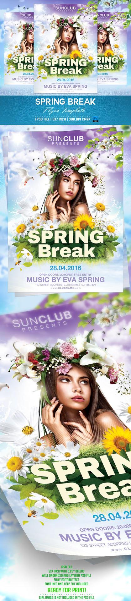 Spring Break Flyer Template by BriellDesign