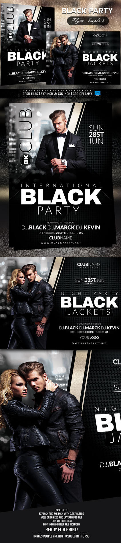 Black Party Flyer template by BriellDesign