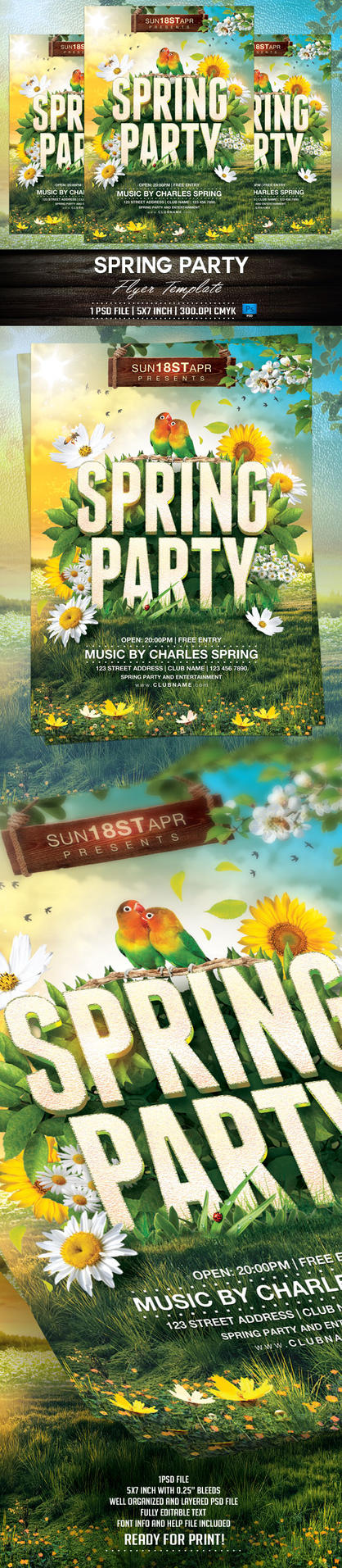 Spring Party Flyer Template by BriellDesign