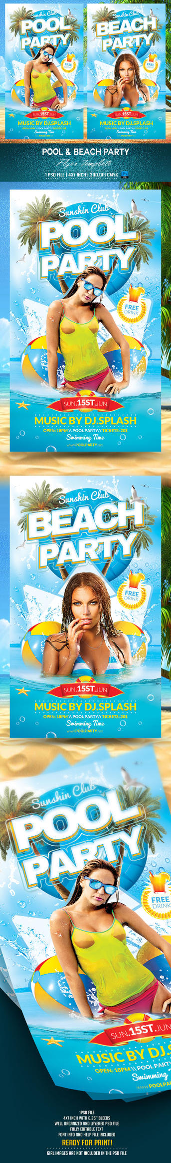 Pool and Beach Party Flyer Template by BriellDesign