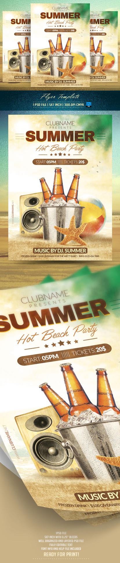 Summer Party Flyer Template by BriellDesign