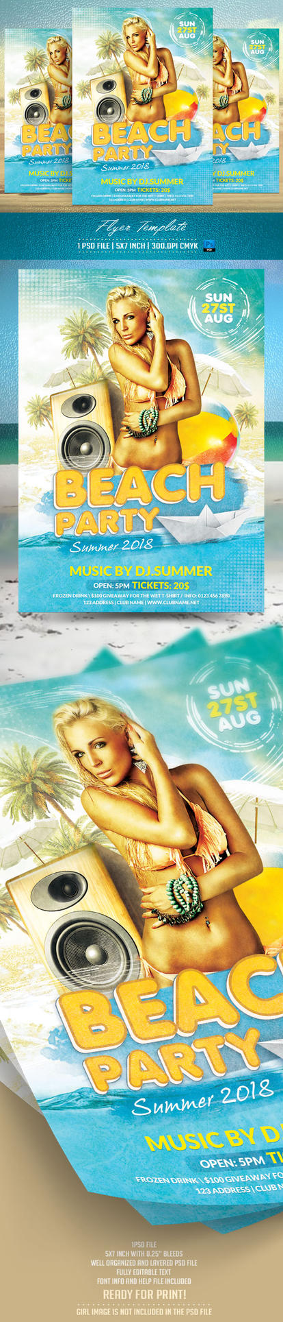 Beach Party Flyer Template by BriellDesign