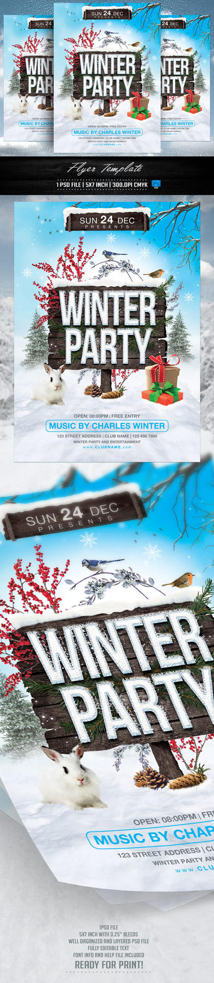 Winter Party Flyer Template by BriellDesign
