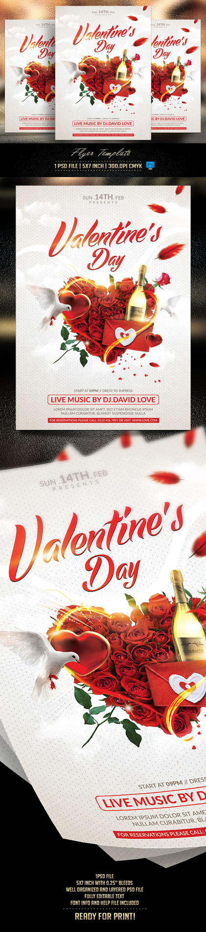 Valentines Flyer Template by BriellDesign