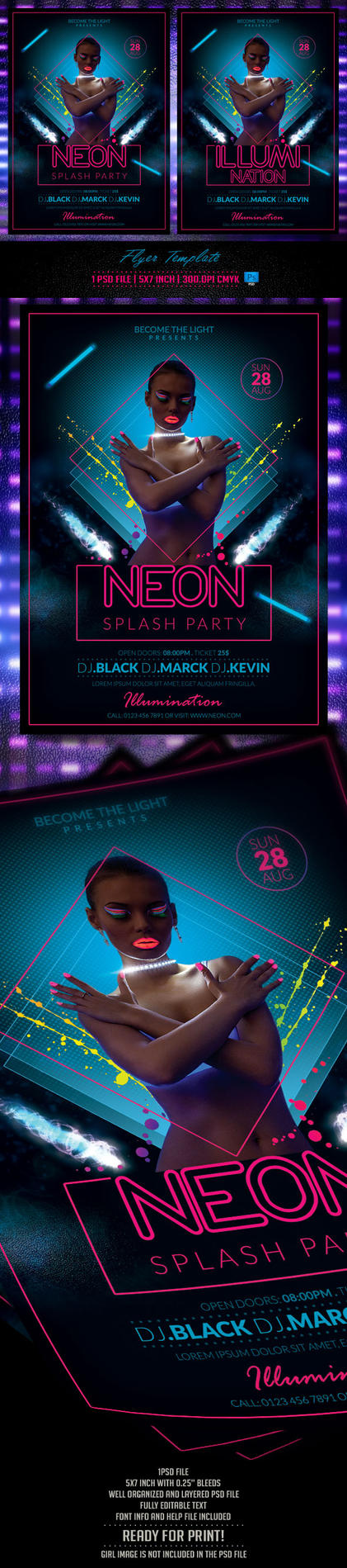 Neon Party Flyer Template by BriellDesign