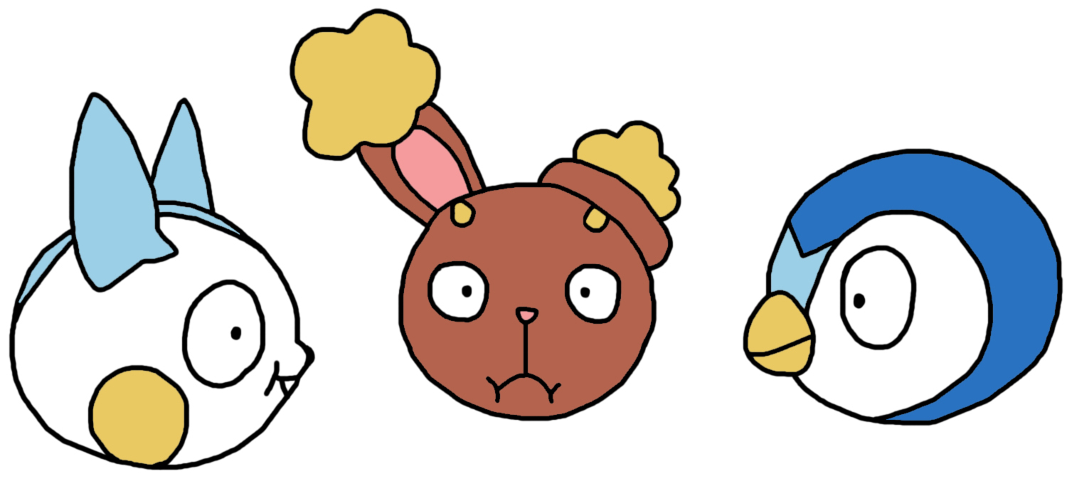 Pachirisu, Buneary And Piplup Funny Faces by GEORDINHO