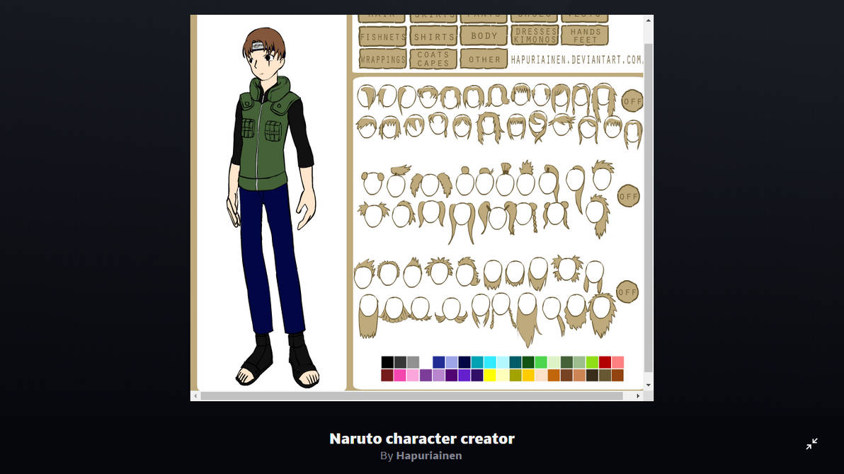 Naruto character creator by Hapuriainen on Deviant