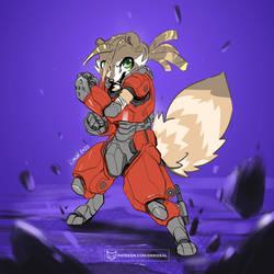 Raku in power armor