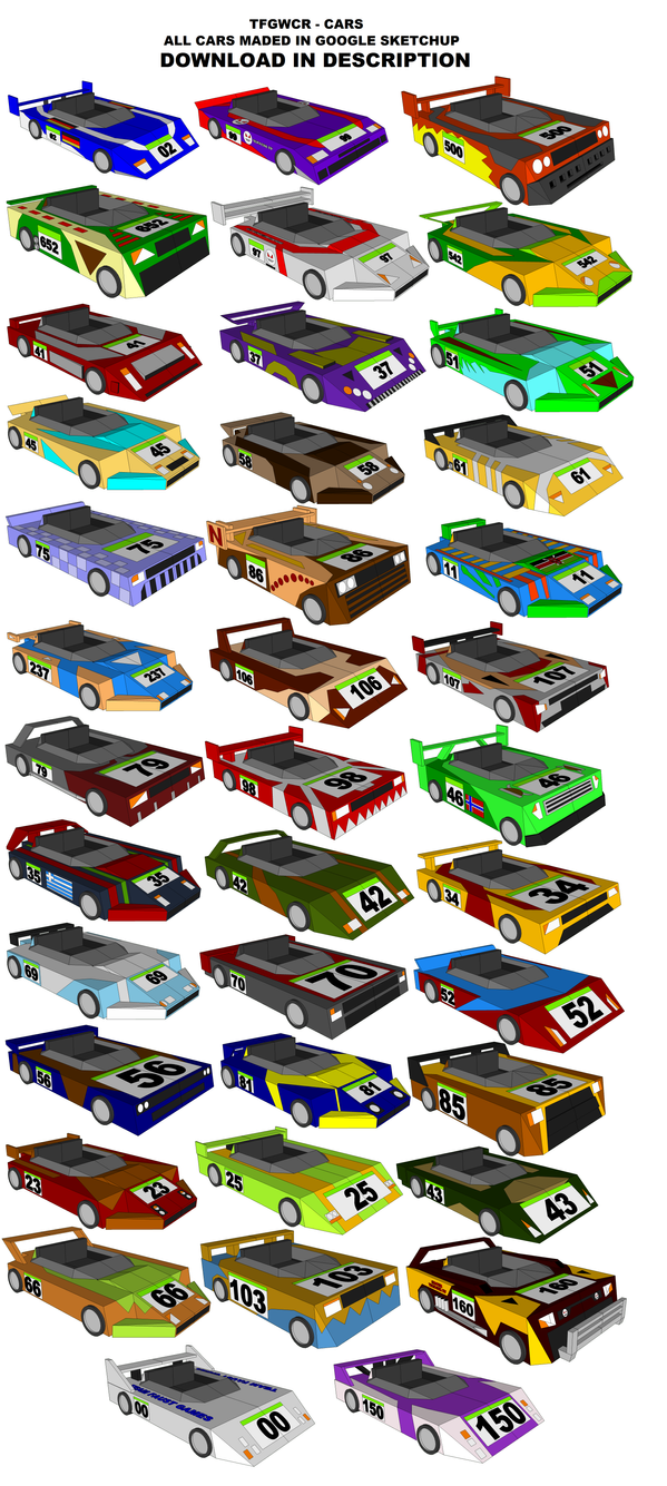 SketchUp Models - All TFGWCR Cars by TeamFaustGames
