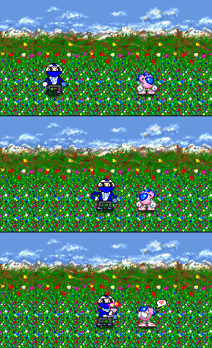 Sprite Comic - Fist Man gives an Flower to WinBee by TeamFaustGames