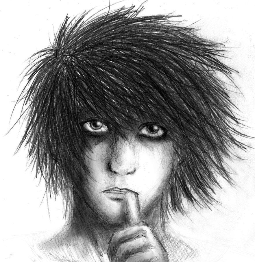 L Lawliet manga portrait by DynastJC