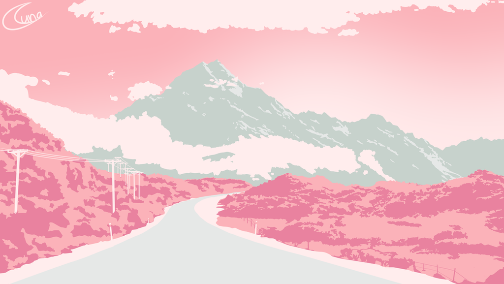 Pink Palette Mountain Landscape by Luna4s
