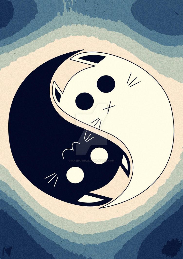cat yin and yang by nasiputih25