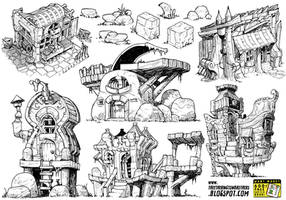 6 monster house concepts by EtheringtonBrothers