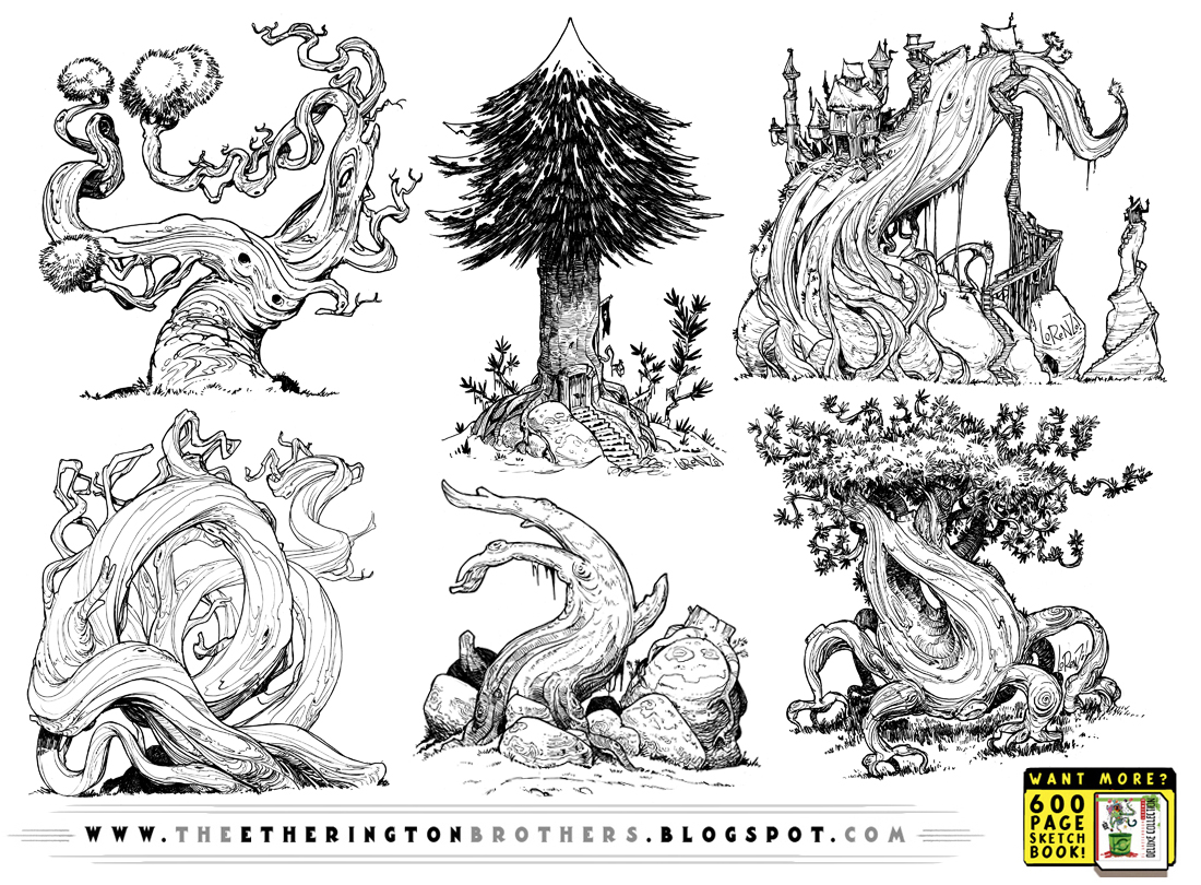 6 EVIL Tree concepts by STUDIOBLINKTWICE