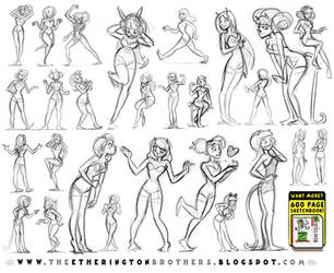 Female Character Pose and Gesture Sheet 1 by EtheringtonBrothers