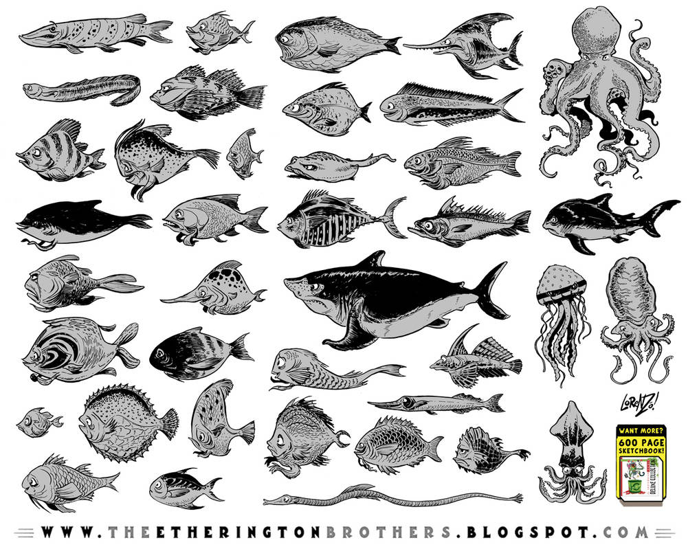 39 fish character designs by EtheringtonBrothers