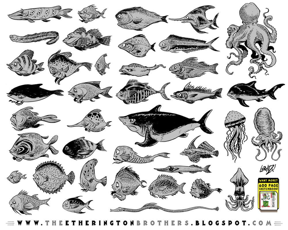 39 fish character designs by STUDIOBLINKTWICE