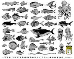 39 fish character designs