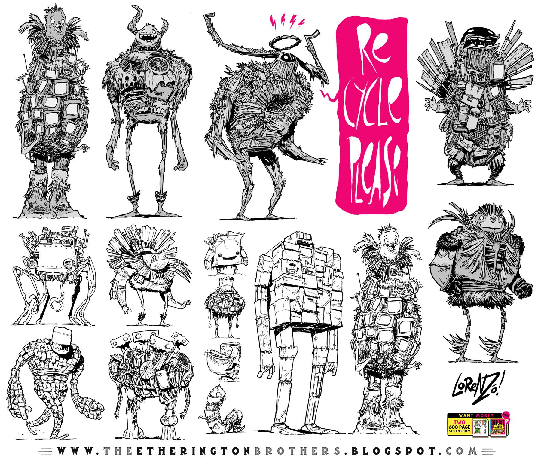 12 Junk and Trash Monster Robot Design Concepts by EtheringtonBrothers