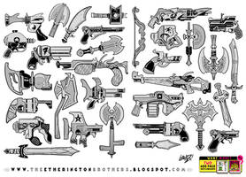 32 Gun Sword Bow Knife weapon designs and concepts by EtheringtonBrothers