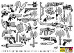 32 Gun Sword Bow Knife weapon designs and concepts
