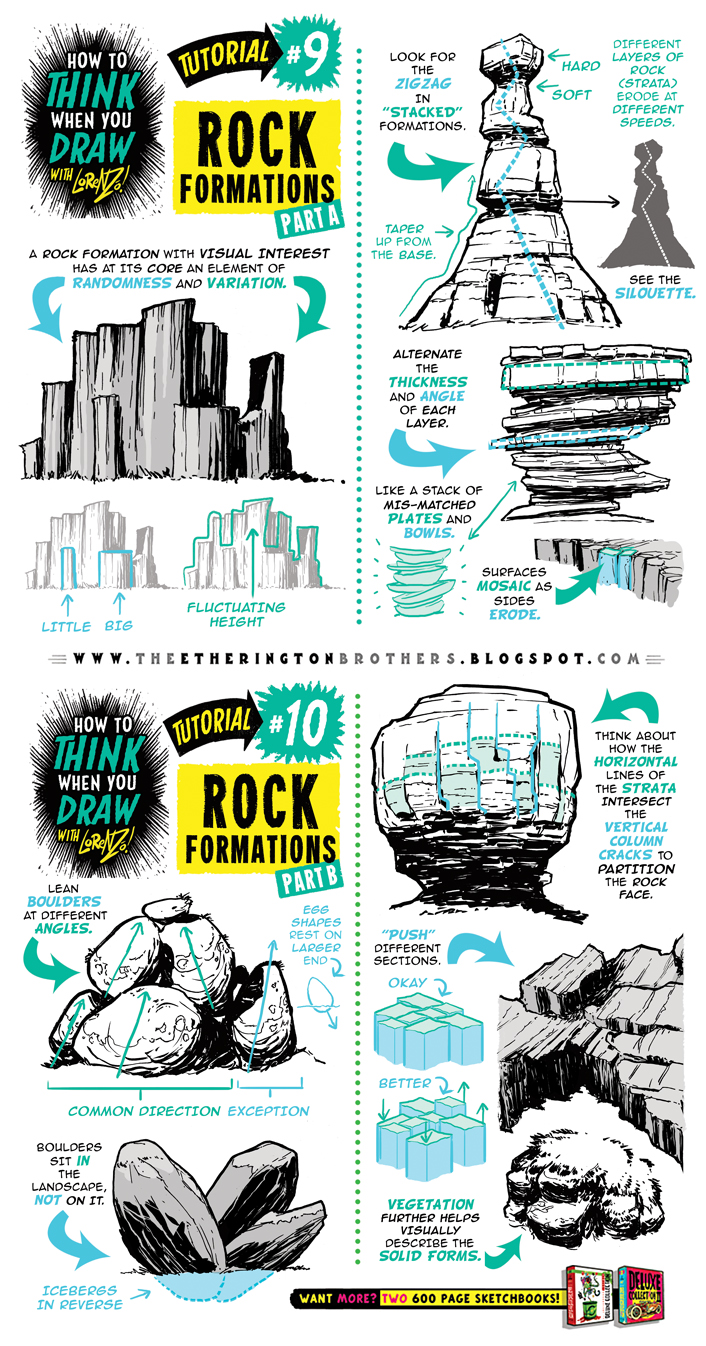 How to draw ROCK FORMATIONS BOULDERS ENVIRONMENTS