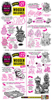 How to Draw WOODEN BUILDINGS CABINS SHACK tutorial