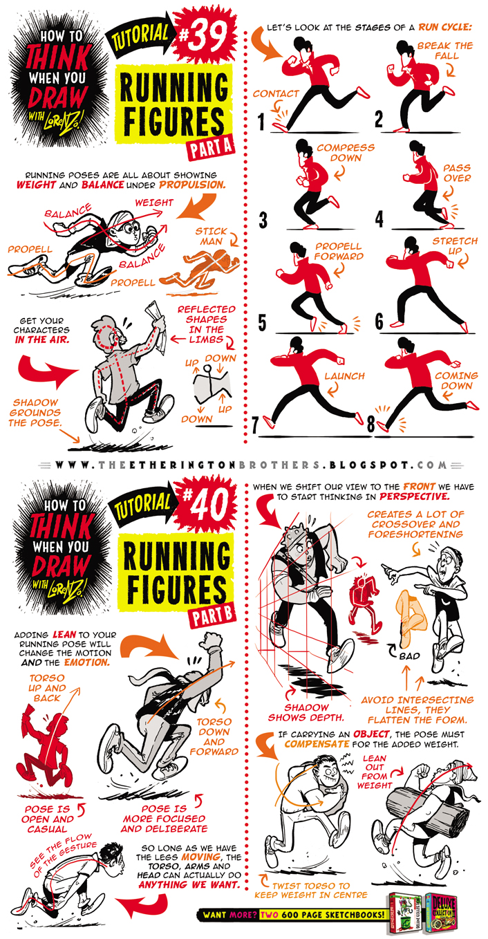 How to draw RUNNING FIGURES + CHARACTERS tutorial by STUDIOBLINKTWICE
