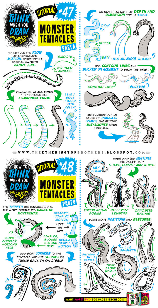 How to draw MONSTER TENTACLES tutorial by STUDIOBLINKTWICE