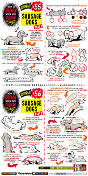 How to draw Sausage Dogs Dachshund tutorial