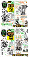 How to draw JUNGLE PLANT CLUSTERS tutorial