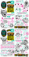 How to draw MONSTER HEADS and FACES tutorial